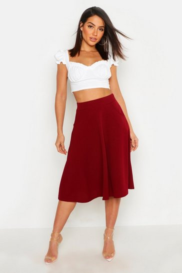 Berry Pocket Front Crepe Skater Midi Skirt