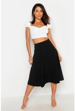Womens Black Pocket Front Crepe Skater Midi Skirt