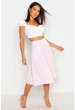 Candy floss Pocket Front Crepe Skater Midi Skirt