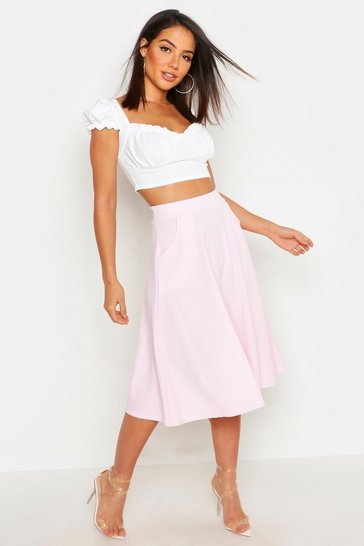 Womens Candy floss Pocket Front Crepe Skater Midi Skirt