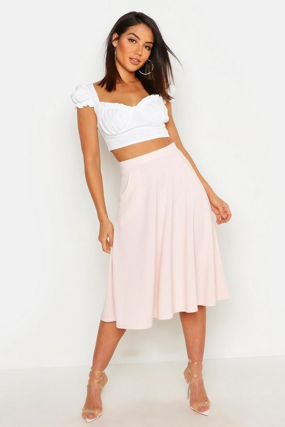 Womens Nude Pocket Front Crepe Skater Midi Skirt