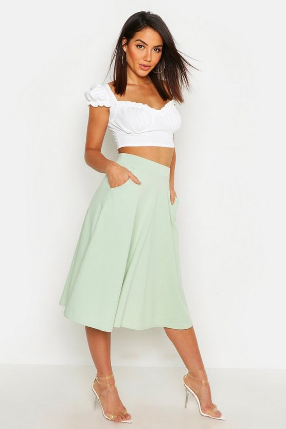 Womens Sage Pocket Front Crepe Skater Midi Skirt