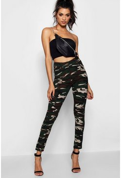 Womens Khaki Pocket Front & Back Camo Jeggings