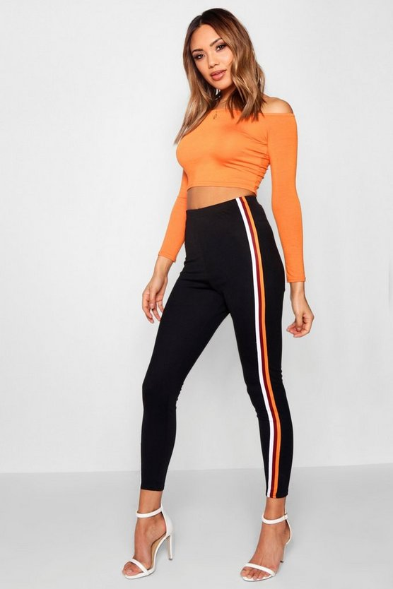 Black Sports Stripe Crepe Leggings