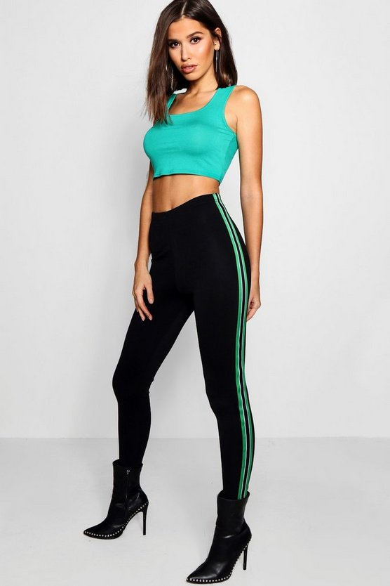 Sports Side Stripe Crepe Leggings