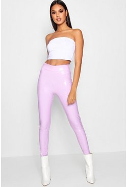 Womens Lilac Vinyl High Waist Leggings