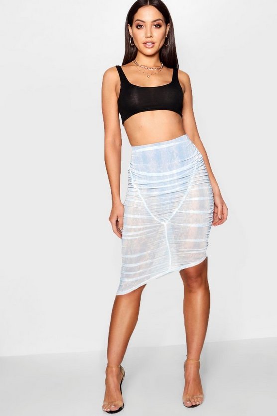 Rouched Printed Mesh Midi Skirt