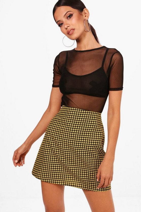 Woven Dogtooth A Line Mini Skirt