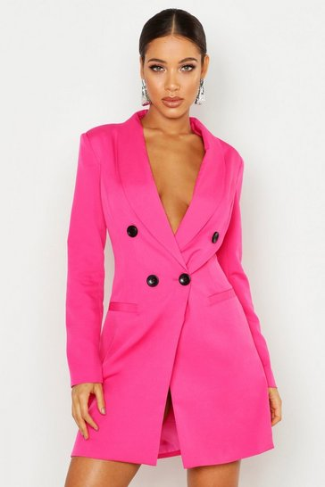 Womens Hot pink Double Breasted Blazer Dress