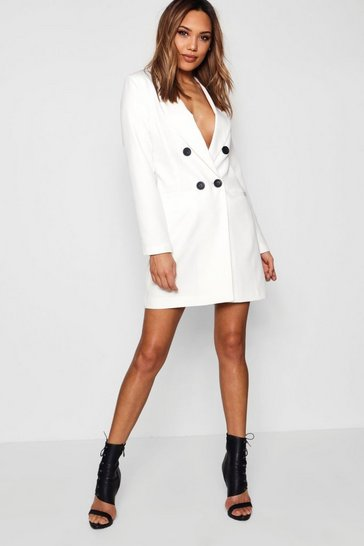 Womens Ivory Double Breasted Blazer Dress