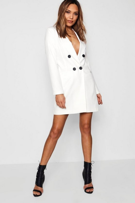 Double Breasted Blazer Dress, Ivory, Donna