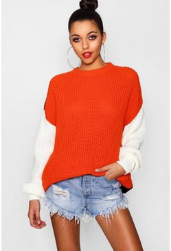 Womens Oversized Colour Block Knitted Jumper
