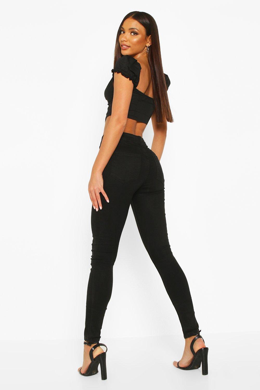 con Skinny Jeans de elásticos negro 5 bolsillo q7wOtaxvZ