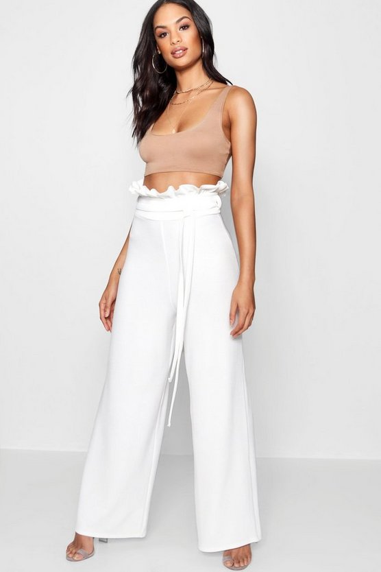 High Waist Crepe Wide Leg Paperbag Trouser