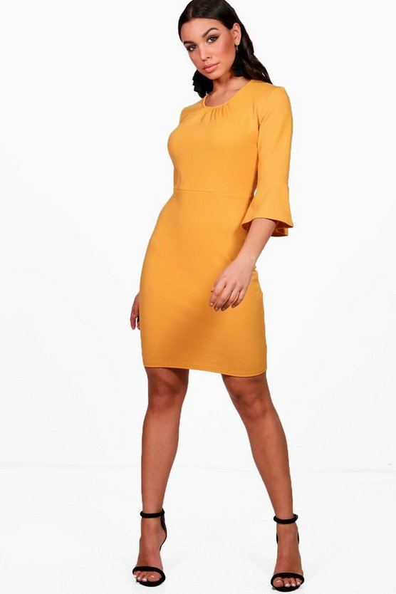 Gathered Neck Midi Dress