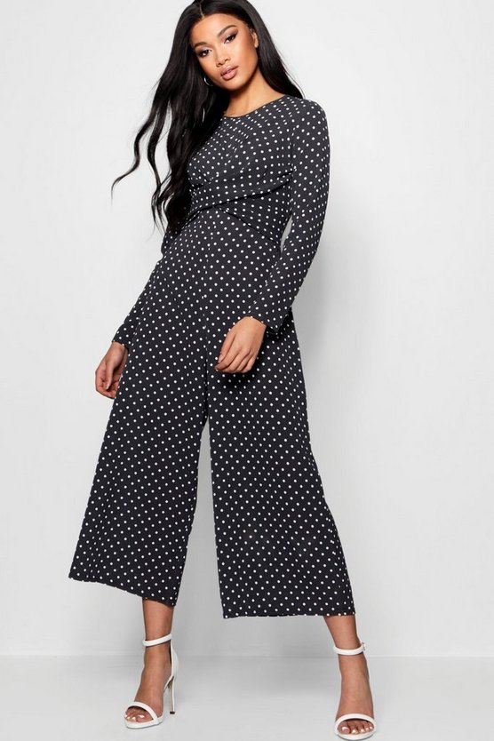 Womens Black Polka Dot Wrap Over Jumpsuit