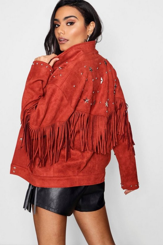 Fringe Suedette Jacket With Star Studs
