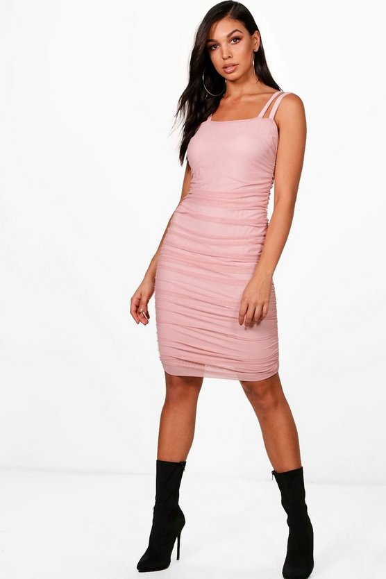 Mesh Sqaure Neck Ruched Midi Dress