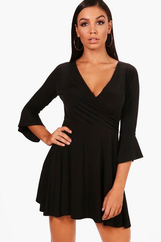 Wrap Front Flared Sleeve Skater Dress