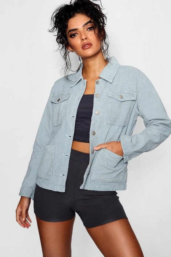 Womens Light blue Oversized Cord Trucker Jacket