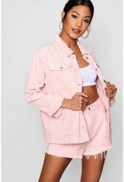 Womens Pale pink Oversized Cord Trucker Jacket