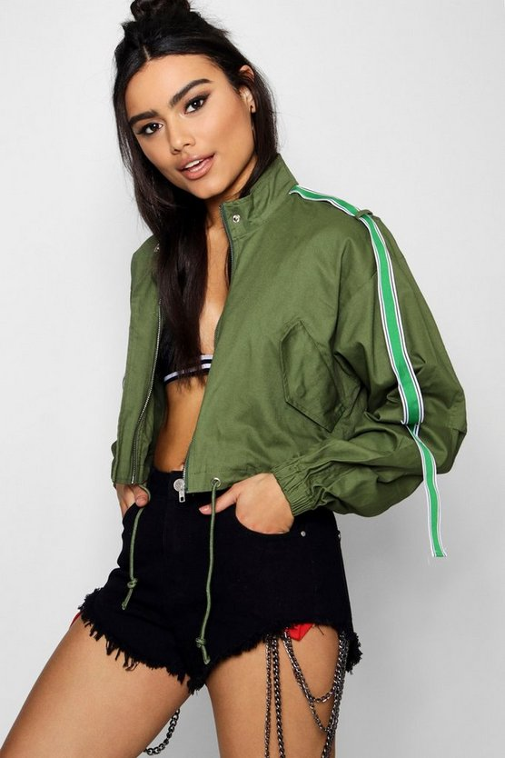 Cropped Utility Jacket With Sports Tape
