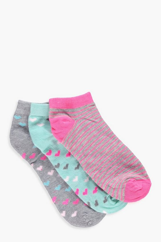 Womens Grey Erin 3 Pack Heart And Stripe Trainer Socks