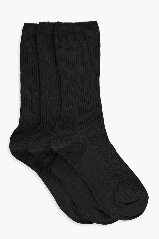 Megan Ribbed Top 3 Pack Ankle Socks