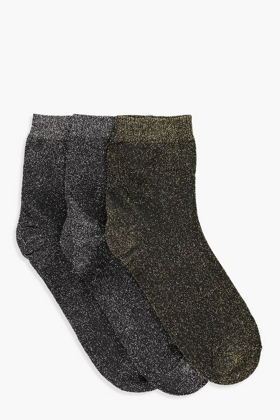 Yasmin Metallic 3 Pack Ankle Socks