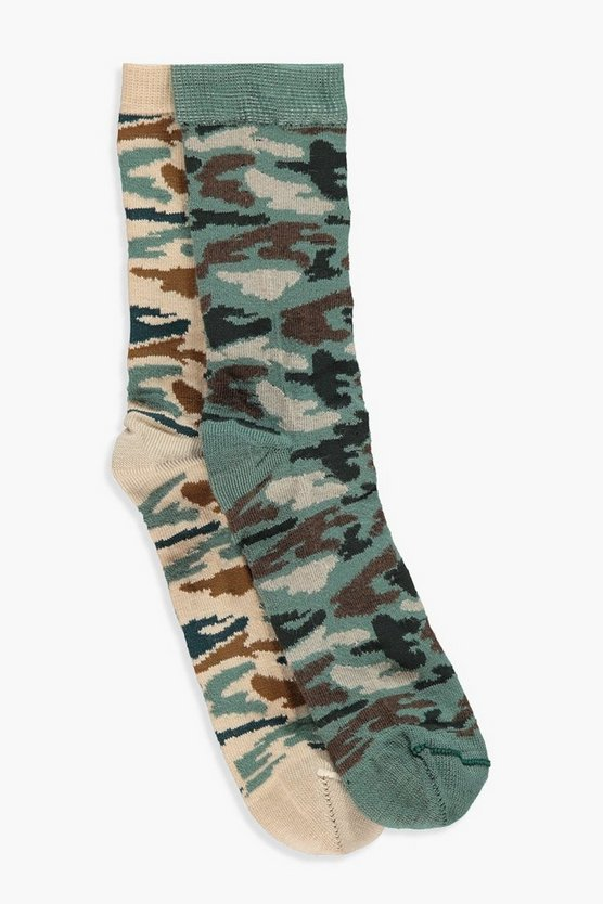 Alexandra 2 Pack Camo Ankle Socks