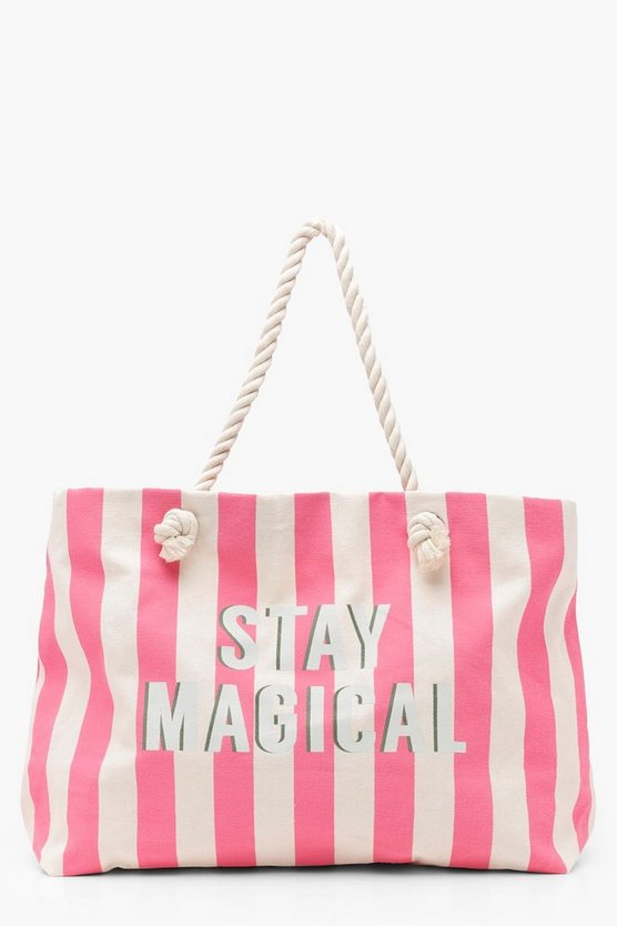 Slogan Stripe Canvas Rope Handle Beach Bag