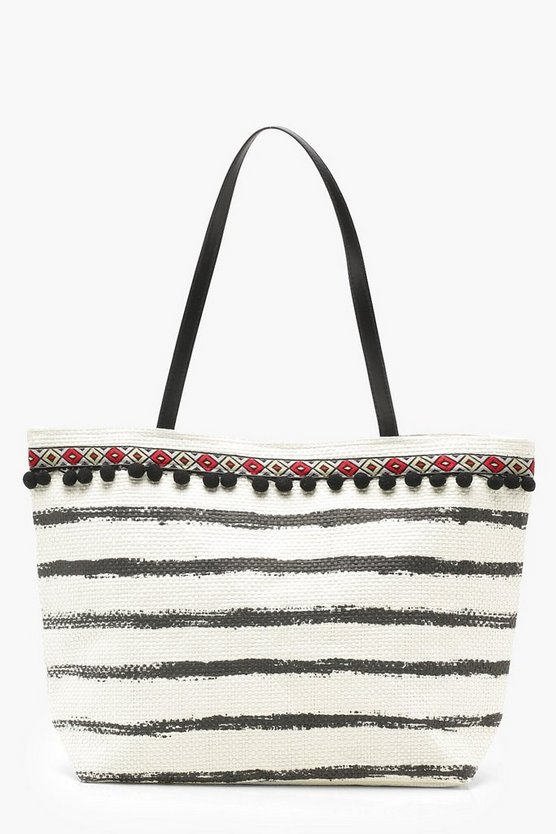 PomPom And Stripe Straw Beach Bag