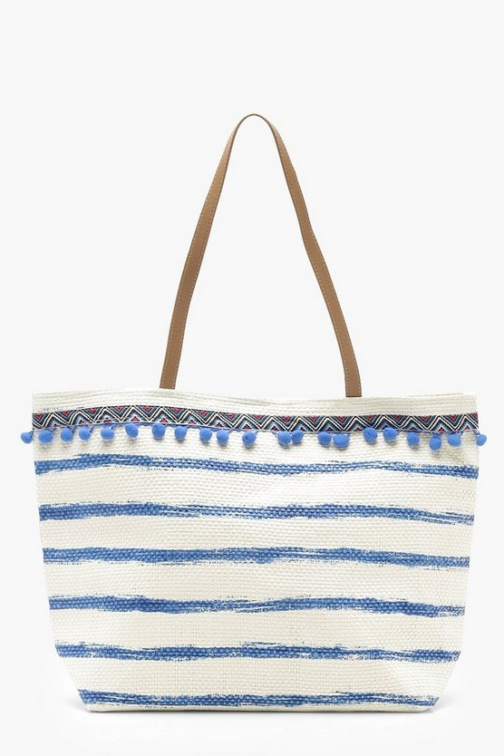 Pom Pom And Stripe Straw Beach Bag