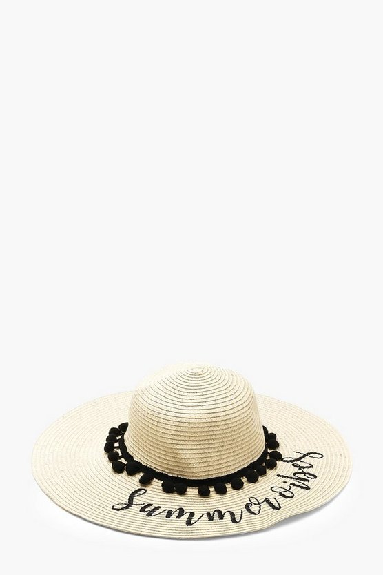 Womens Natural Slogan And Pom Pom Floppy Straw Hat
