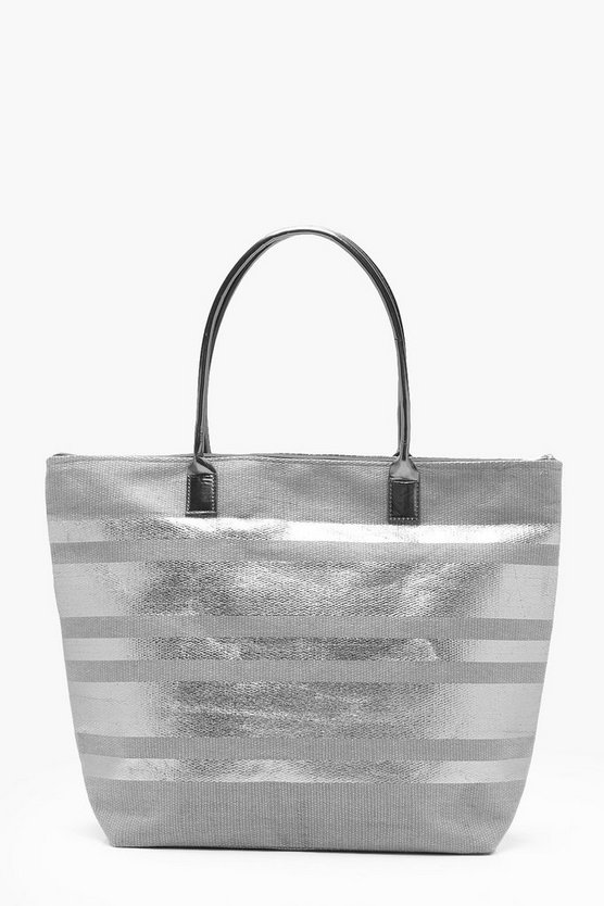 Amy Metallic Stripe PU Handle Beach Bag