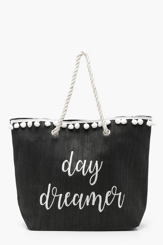Womens Black Ivy Slogan And Pom Pom Straw Beach Bag