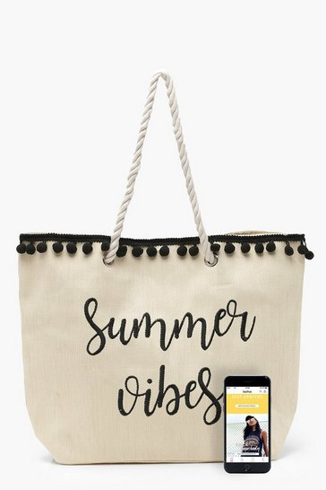 Womens Natural Ivy Slogan And Pom Pom Straw Beach Bag