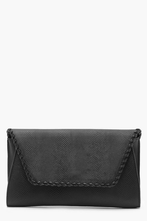 Womens Black Faux Snake & Whipstitch Clutch With Chain