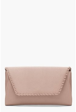 Womens Nude Faux Snake & Whipstitch Clutch With Chain