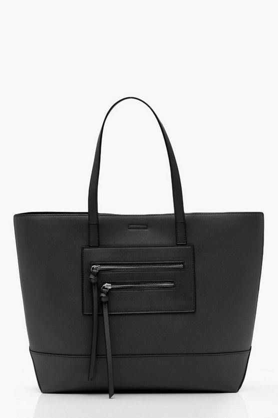 Womens Black Double Zip Shopper Tote