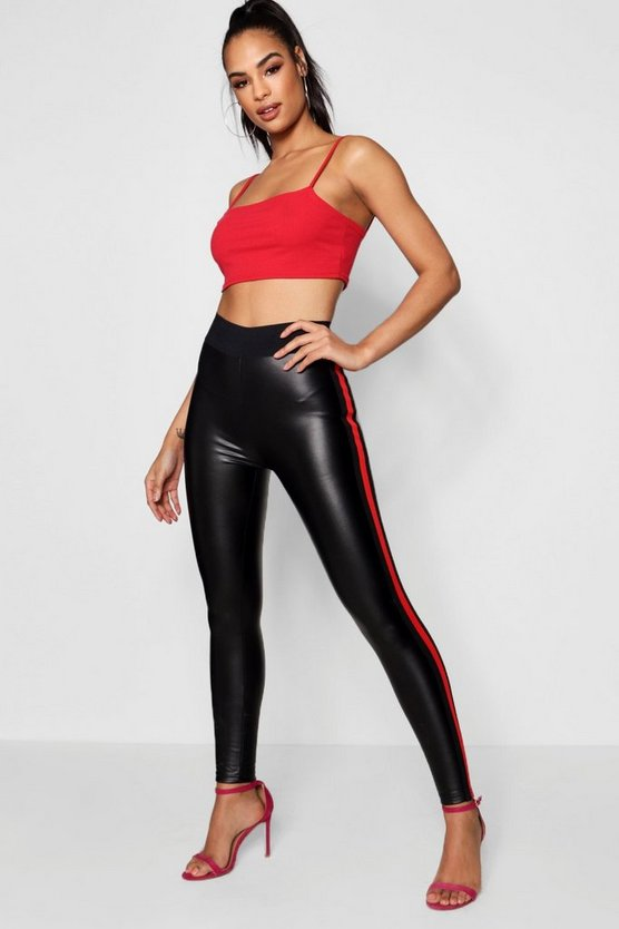PU Side Stripe Trousers