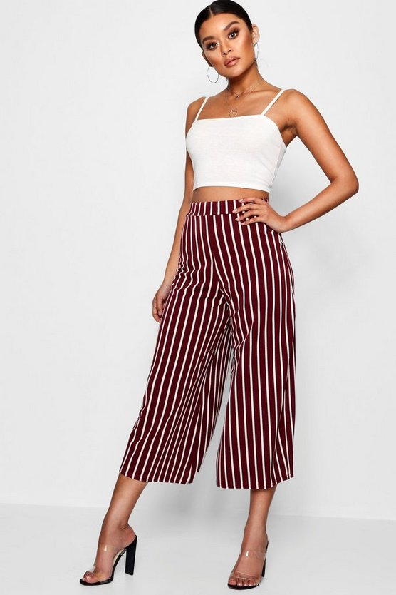 Womens Berry High Waist Striped Wide Leg Crepe Culotte