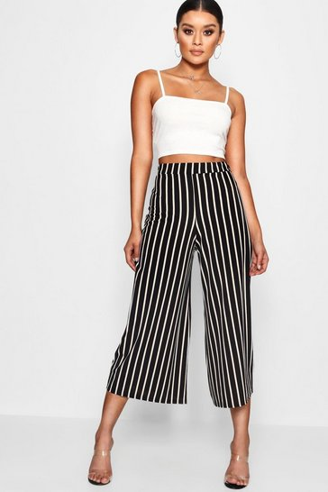 Womens Black High Waist Striped Wide Leg Crepe Culotte