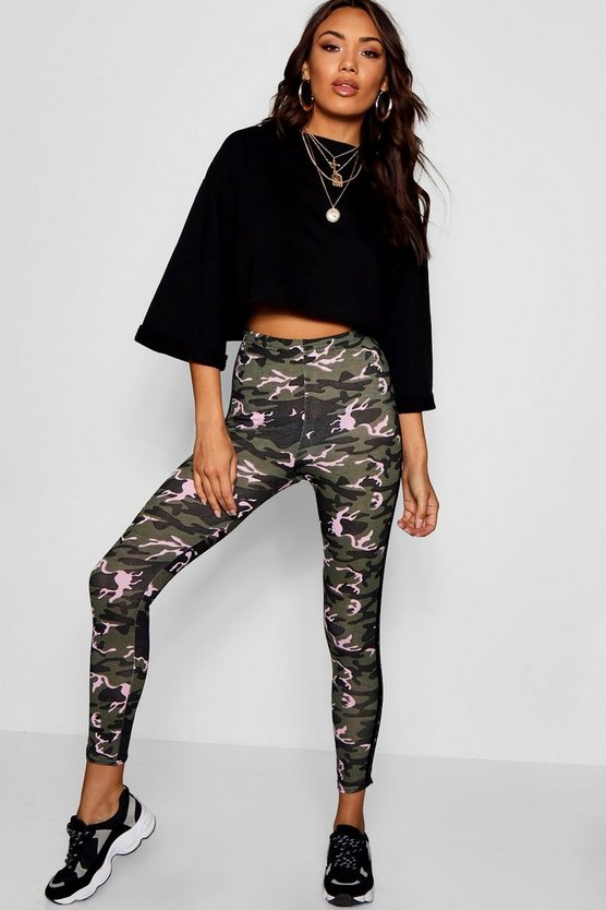 Womens Khaki Side Stripe Camo Leggings