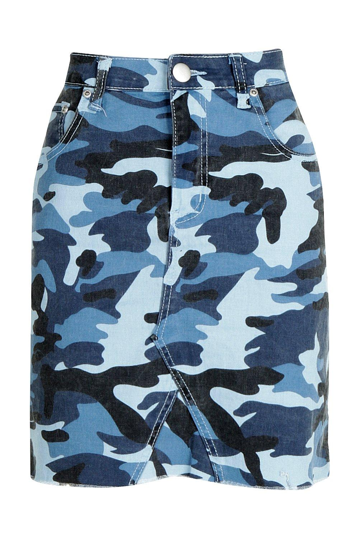 en de azul Micro denim Minifalda estampada azul camuflaje pIdBBqw