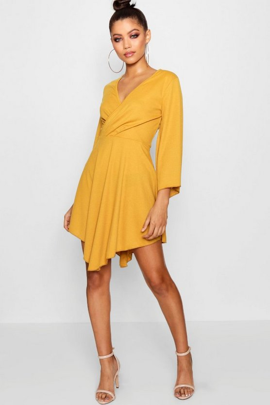Plunge Flared Sleeve Ribbed Skater Dress