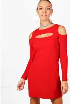 Womens Red Cold Shoulder Cut Out Shift Dress