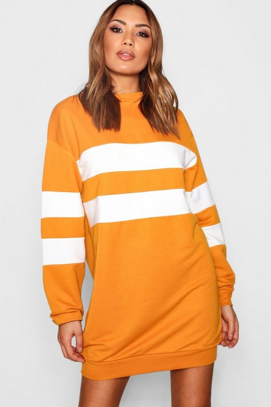 Colour Block Stripe Sweat Dress