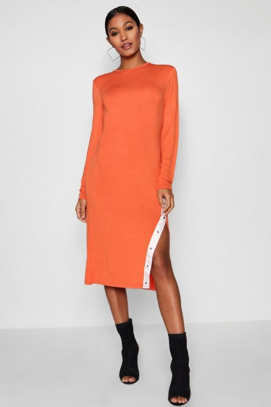 Sports Popper Detail High Split Midi Dress