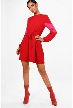 Womens Red Stripe Rouched Waist Skater Dress